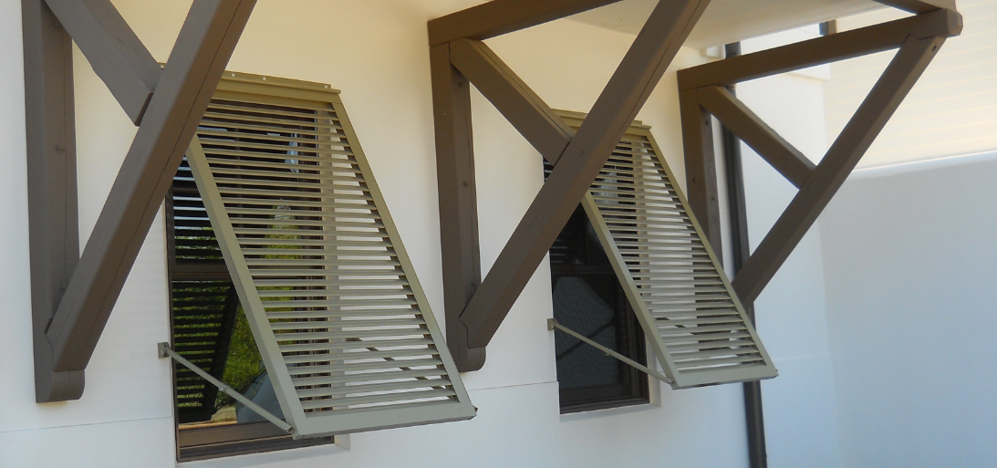Our Bahama Shutters add beauty and a Caribbean style to your home. They are fully functional yet look decorative. They are permanently mounted and can be easily secured in the event of a storm.